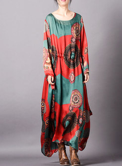 Retro Print O-neck Gathered Waist Maxi Dress