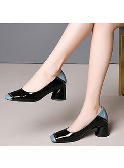 Fashion Color-blocked Square Head Shoes