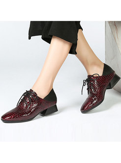 Fashion Stone Grain Squre Toe Lace Up Shoes