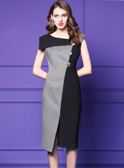 Elegant Splicing Plaid Split Bodycon Dress