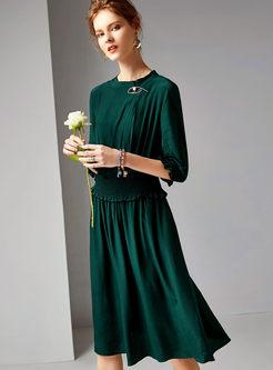 Brief Solid Color Waist Big Hem Dress