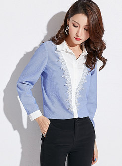 Chic Lace Splicing Lapel Single-breasted Blouse