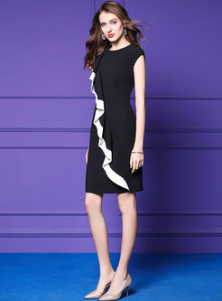 Stylish Falbala Color-blocked Sleeveless Dress