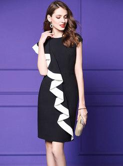 Stylish Falbala Color-blocked Sleeveless Dress
