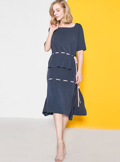 Casual O-neck Tie-waist Knitted Top & Slit Skirt