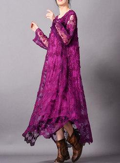 Plus Size Embroidered O-neck Loose Maxi Dress