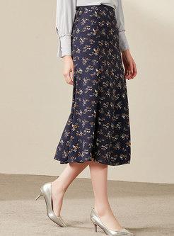 Floral High Waist Slim A Line Skirt