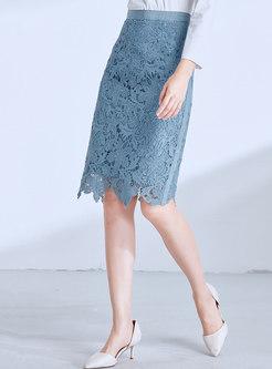 Chic Lace High Waist Slit Sheath Skirt