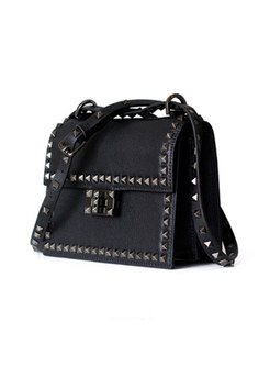 Brief Cowhide Leather Rivet One Shoulder Bag