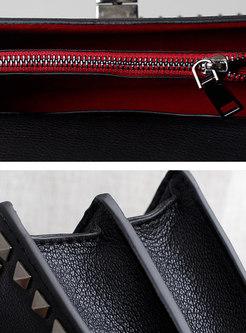 Brief Cowhide Leather Rivet One Shoulder Bag