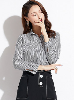 Chic Striped Splicing Lapel Single-breasted Blouse