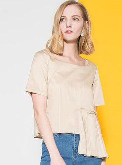 Pure Color O-neck Asymmetric T-shirt