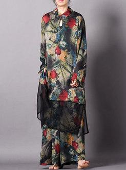 Vintage Splicing Mandarin Collar Loose Top & Wide Leg Pants