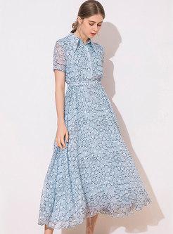 Brief Floral Print Turn-down Collar Maxi Dress
