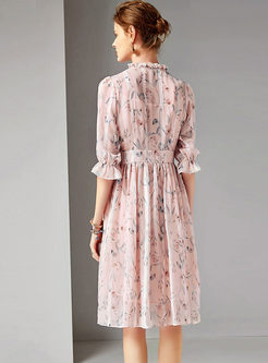 Sweet Ruffled Neck Print Waist Pleated Dress