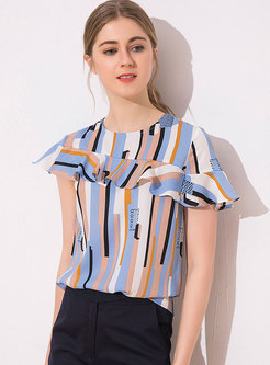 Multicolor Striped O-neck Stitching Chiffon Blouse