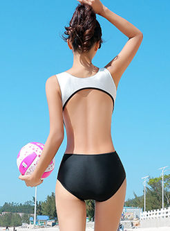 Color-blocked Backless One Piece Swimwear