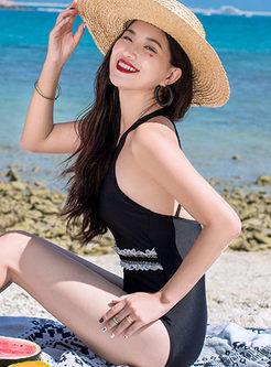 Stylish O-neck Falbala One Piece Swimwear