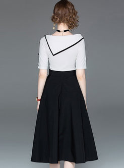 Stylish Irregular Neck Top & Big Hem Skirt