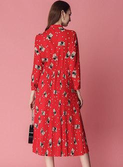 Cartoon Pattern Bowknot Gathered Waist Pleated Dress