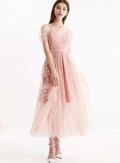 Stylish Pink V-neck Gathered Waist Gauze Slip Dress