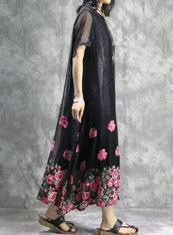 Casual Black Asymmetric Embroidered Flower Maxi Dress