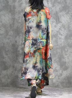 Stylish Color-blocked Bating Sleeve Dress & Wide Leg Pants