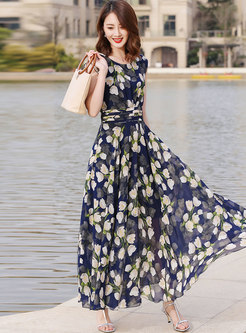 Chic Color-blocked Print Maxi Dress