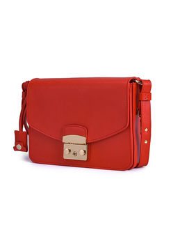 Brief Solid Color Clasp Lock Mini Crossbody Bag