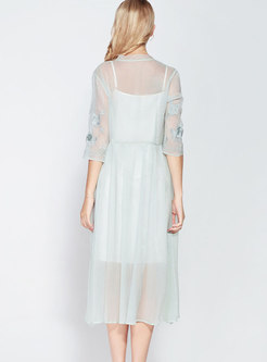 Vintage Embroidered Two-pieces Half Sleeve Dress