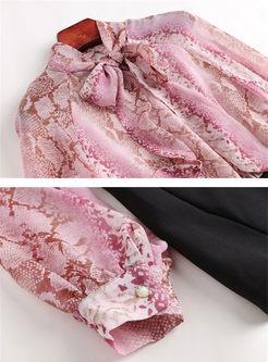 Chic Print Long Sleeve Top & Slim Harem Pants
