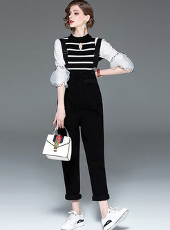 Puff Sleeve Striped T-shirt & Slim Overalls