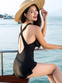Solid Color Falbala One Piece Swimwear