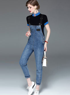 Fashion Short Sleeve Top & Denim Overalls