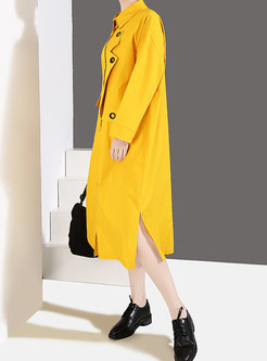 Street Solid Color Turn-down Collar Asymmetrical Dress