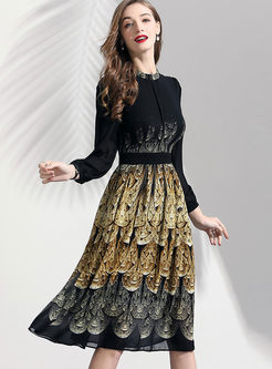 Standing Collar Peacock Print Chiffon Dress