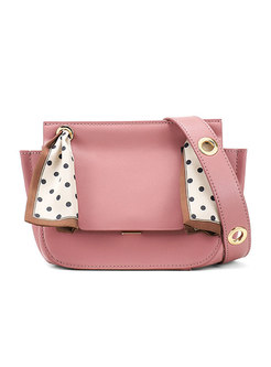 Brick Red Sweet Silk Scarves Clasp Lock Crossbody Bag