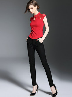 Vintage Lace Splicing Mandarin Collar Slim T-shirt