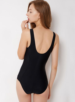 Stylish O-neck Zipper Cover-up Slim Swimwear