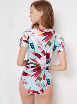 Chic Print O-neck Dry Fast Swimwear