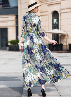Retro Standing Collar Big Hem Maxi Dress