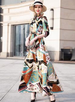 Three Quarters Sleeve High Waist Print Dress