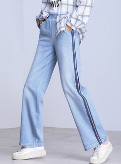 Light Blue Denim Color-blocked Patch Straight Pants