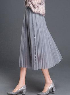 Brief Pearl Mesh Beach A-line Skirt