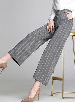 Casual Striped Wide Leg Calf-Length Pants