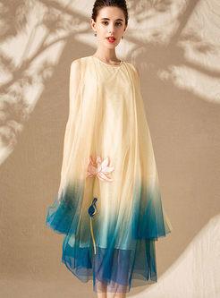 Stylish Plus Size Color-blocked Dress
