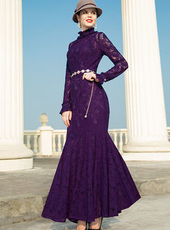 Solid Color Long Sleeve Lace Mermaid Dress