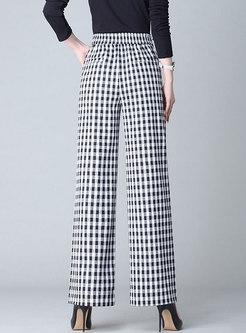 Stylish Black And White Plaid Cotton Pants