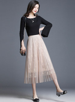 Fashion High Waist Mesh Pleated Skirt