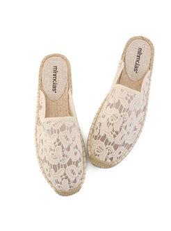 Fashion White Lace Mesh Flat Slippers